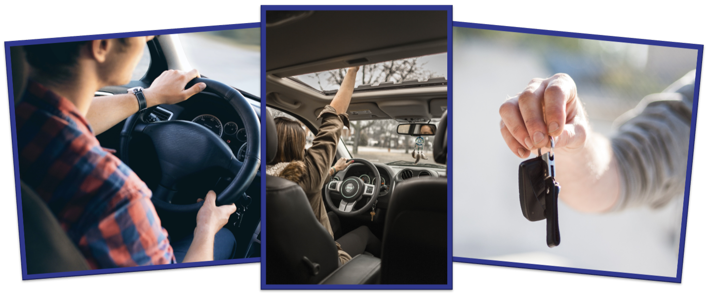 Pictures of car keys, girl in car, man driving new car