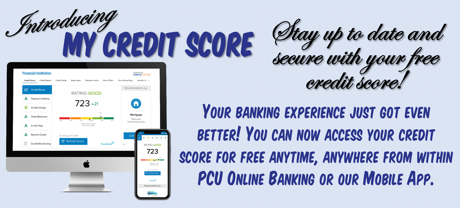 computer and cell phone showing credit score